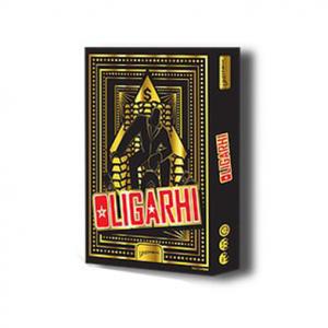 Ballisu spele Oligarhi melna kaste uzbalta fona galda speles kaste board game box